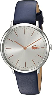 Lacoste Womens Moon Stainless Steel Quartz Watch with Leather Calfskin Strap, Blue, 16 (