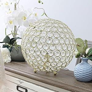 Elegant Designs LT1067-GLD Elipse 10 Inch Crystal Ball Sequin Table Lamp, Gold