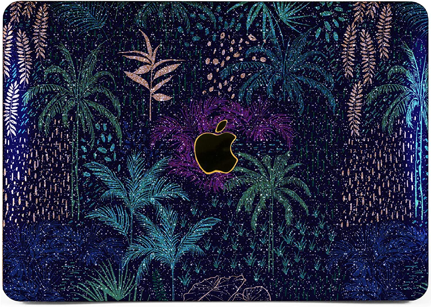 "Cavka Hard Glitter Case for Apple MacBook Pro 13"" 2019 Retina 15"" Mac Air 11"" Mac 12"" Bling Shiny Print Silver Blue Tree Leaves Pattern New Cover Glossy Design Sparkly Rose Gold Exotic Palms Tropical"
