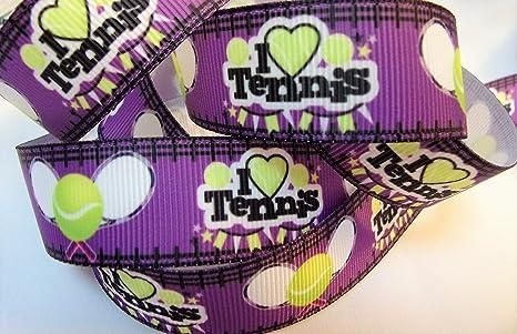 """Cinta de grogrén con texto en inglés """"I Love TENNIS"""" (7/"""