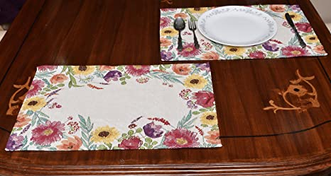 Avira Home Polycotton Floral Essence Table Mat, Set Of 2, (Multicolor) <span at amazon
