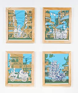 Nakatomi - Vietnam on Wheels - Set of 4 Hand Printed Silk Screen Art Prints by artist Tim Doyle