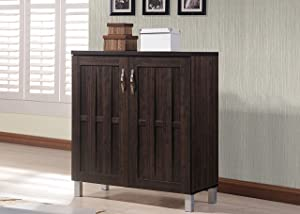 Baxton Studio Wholesale Interiors Excel Sideboard Storage Cabinet, Dark Brown
