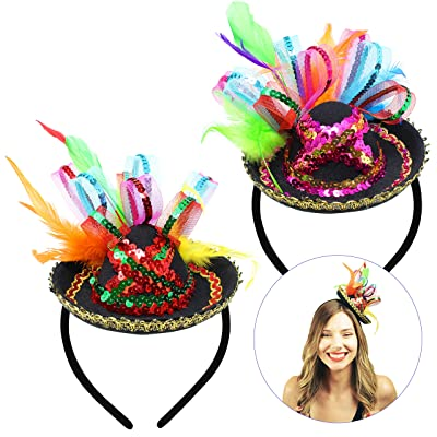 2 PCs Cinco De Mayo Fiesta Sequined Sombrero Headbands Party Costume for Fun Fiesta Taco Party Supplies, Luau Event Photo Props, Mexican Theme for Carnivals Festivals, Dia De Muertos, Coco Theme: Clothing
