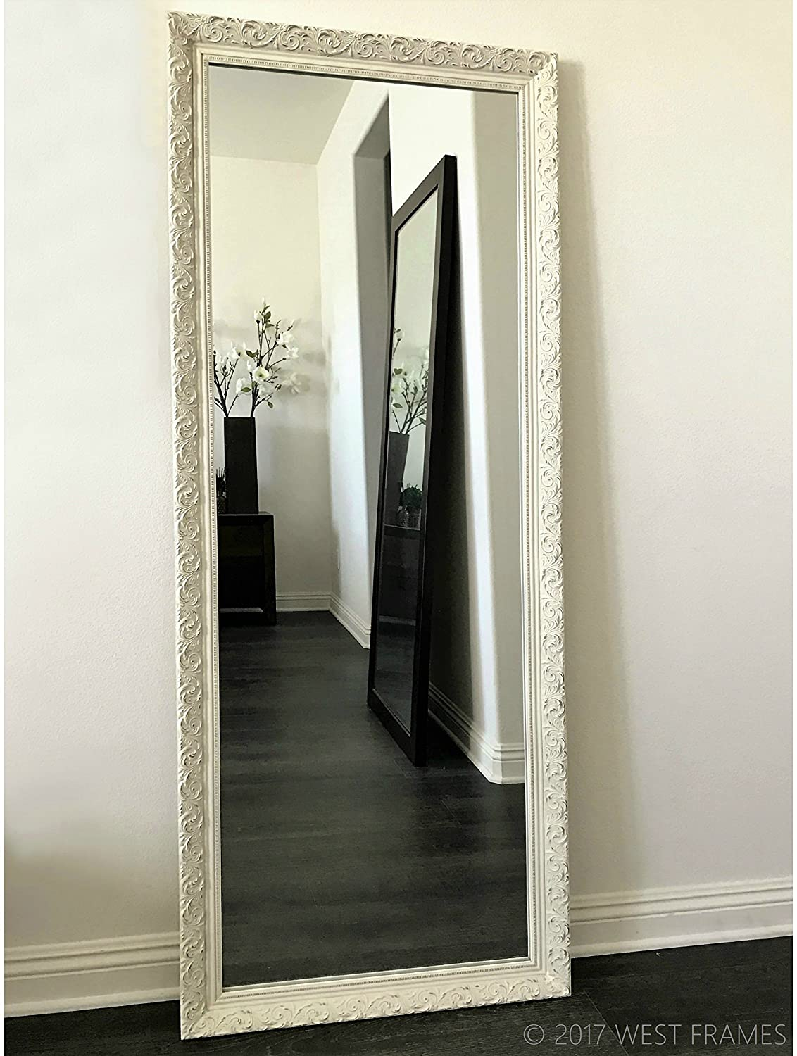 West Frames Bella Ornate Embossed Antique White Wood Framed Leaner Floor Mirror