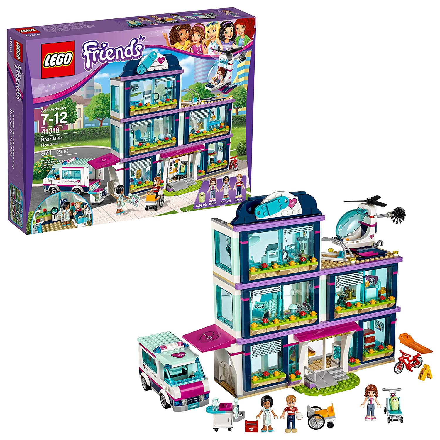 Buy Lego Friends Heartlake Hospital 41318 Building Kit 871 Piece