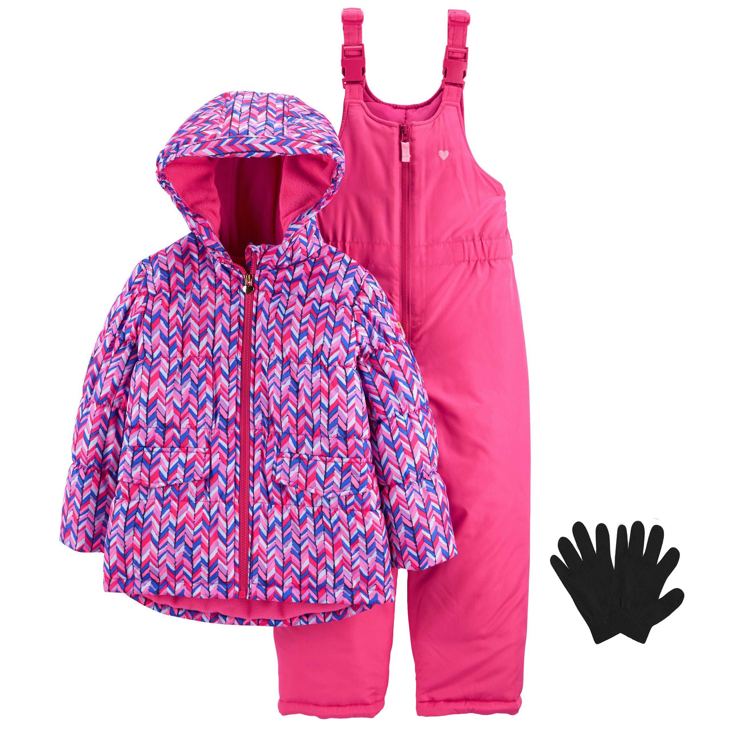 OshKosh Toddler Heavy Weight Jacket (Coat) Snow Pants and Gloves Pink Chevron 4T by OshKosh B'Gosh
