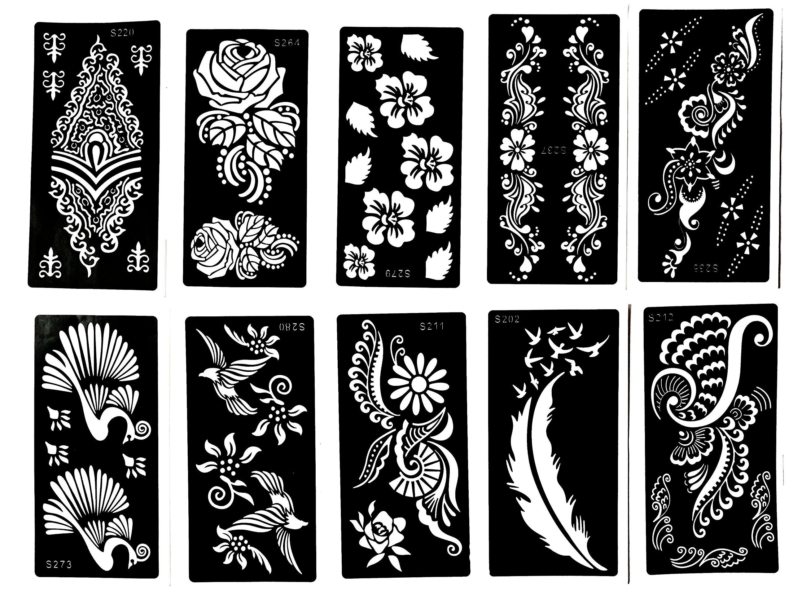Temporary Tattoo Stencils Henna: Amazon.com : Henna Stencil Tattoo (10 Sheets) Self