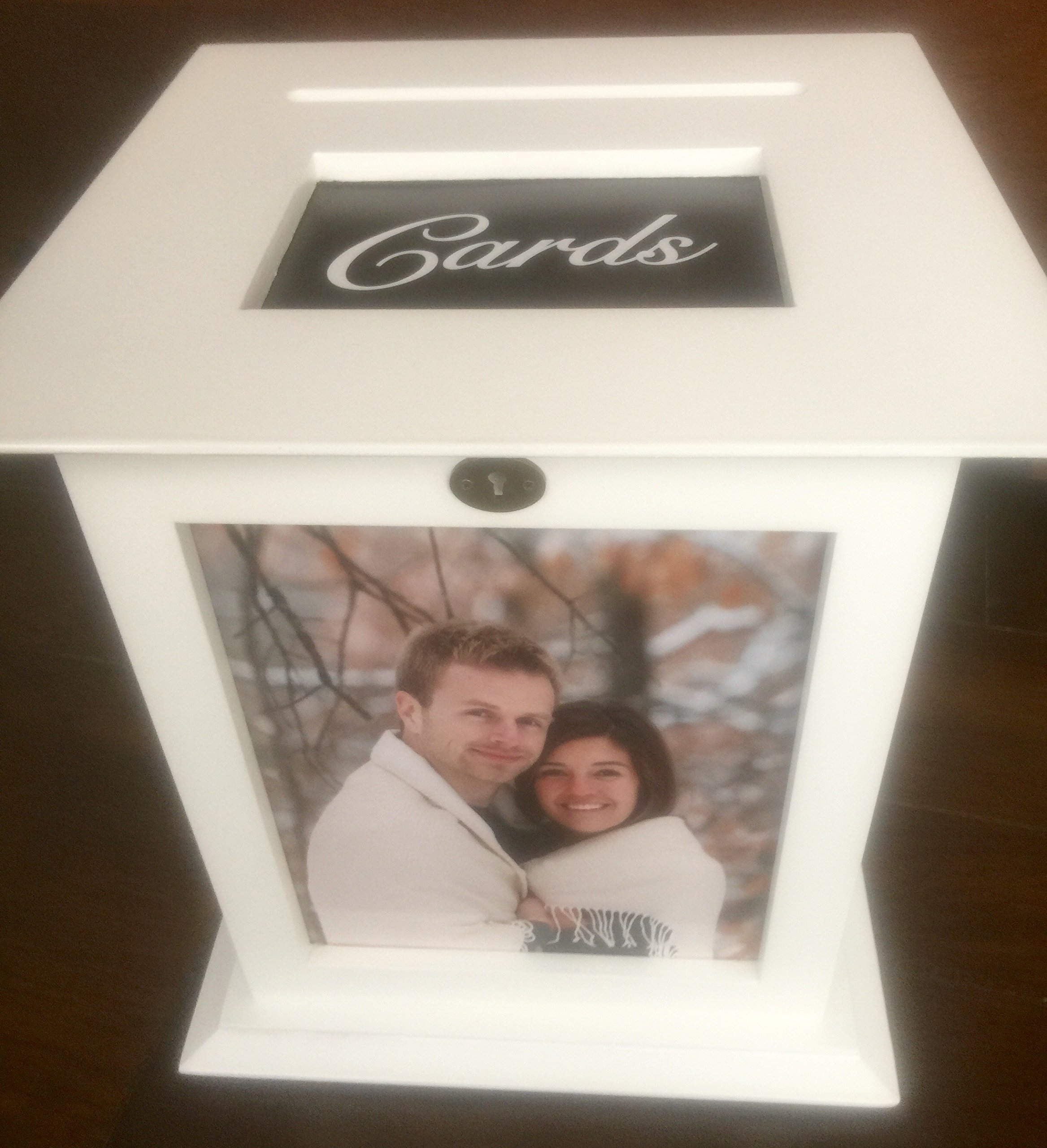 White Wedding Card Box with CARDS Engraved Plate Included