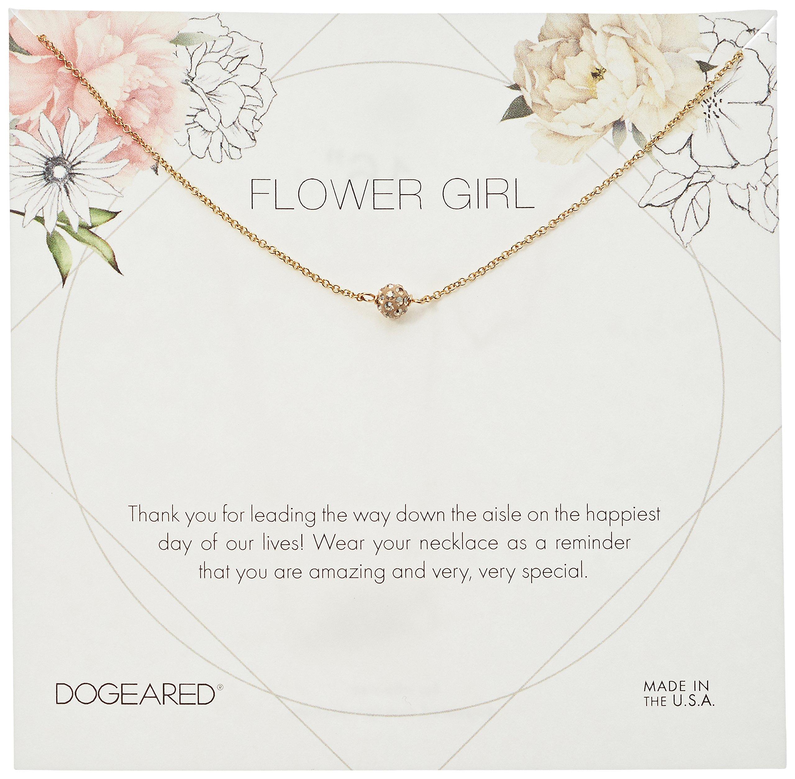 Dogeared Flower Girl Flower Card Pave Sparkle Ball Chain Neckalce, Gold, 16'' + 2'' Extension