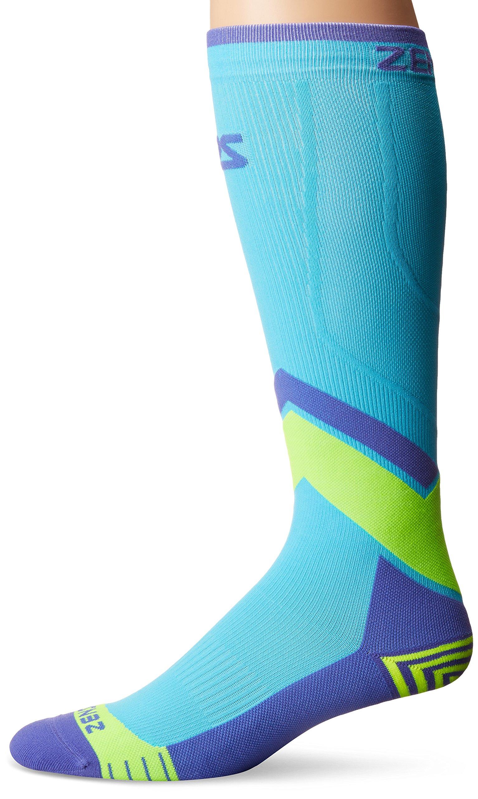 Zensah Pop Tech+ Compression Graduated Compression Socks, Aqua/Yellow/Purple, Small
