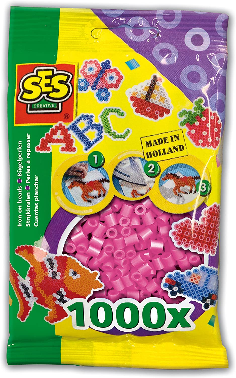 1000-Pack SES Creative Iron On Beads Pink