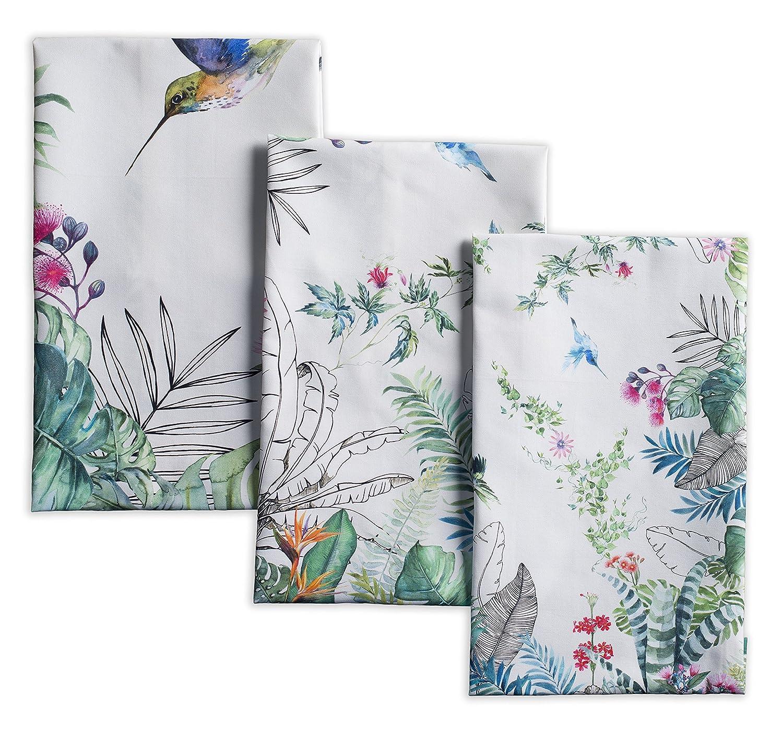Maison d' Hermine Tropiques 100% Cotton Set of 3 Kitchen Towels 20 inch by 27.5 inch