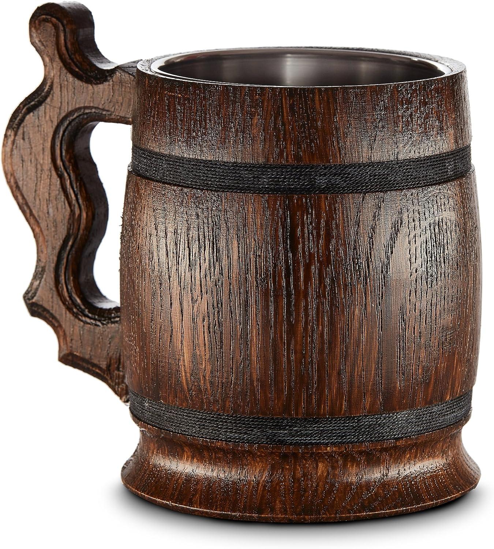 Gran Jarra de Cerveza de Madera – Roble – Confección Artesana con Materiales de Calidad – Revestida con Metal – Resistente – Robusta – Duradera