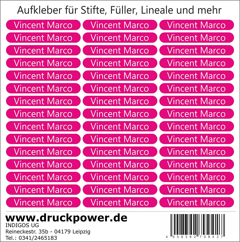 INDIGOS UG Namensaufkleber/Sticker - 51x7 mm - 140 Stück für Kinder ...