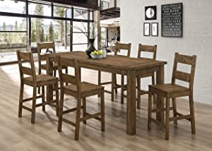 Coaster Home Furnishings Coleman 5-Piece Dining Rustic Golden Brown Counter Height Set, Table