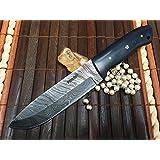 damas couteau de chasse en acier avec gaine