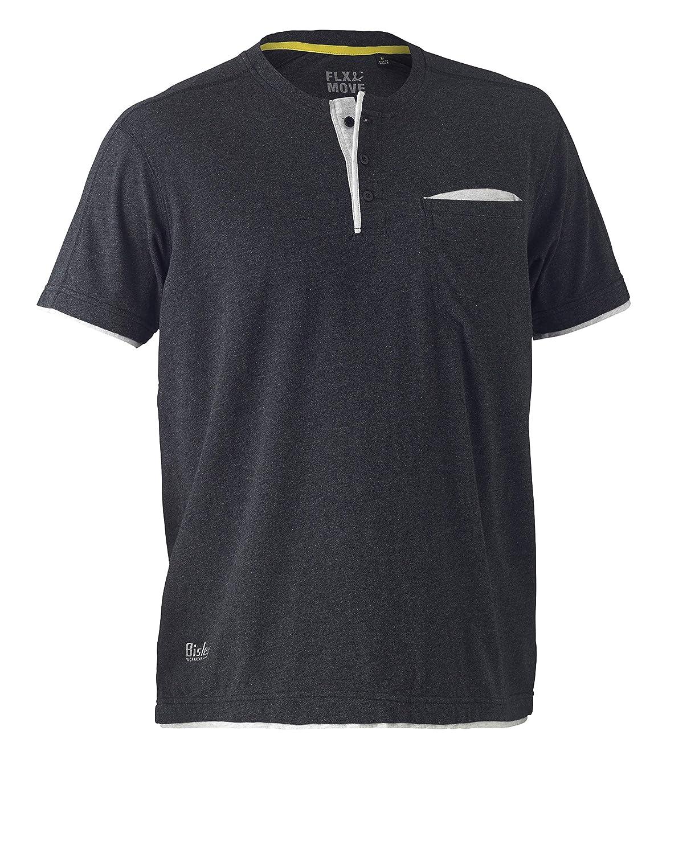Camiseta de manga corta de algodón Henley talla 2XL Bisley Workwear UKBK1932_BCCG Flex & Move color gris oscuro