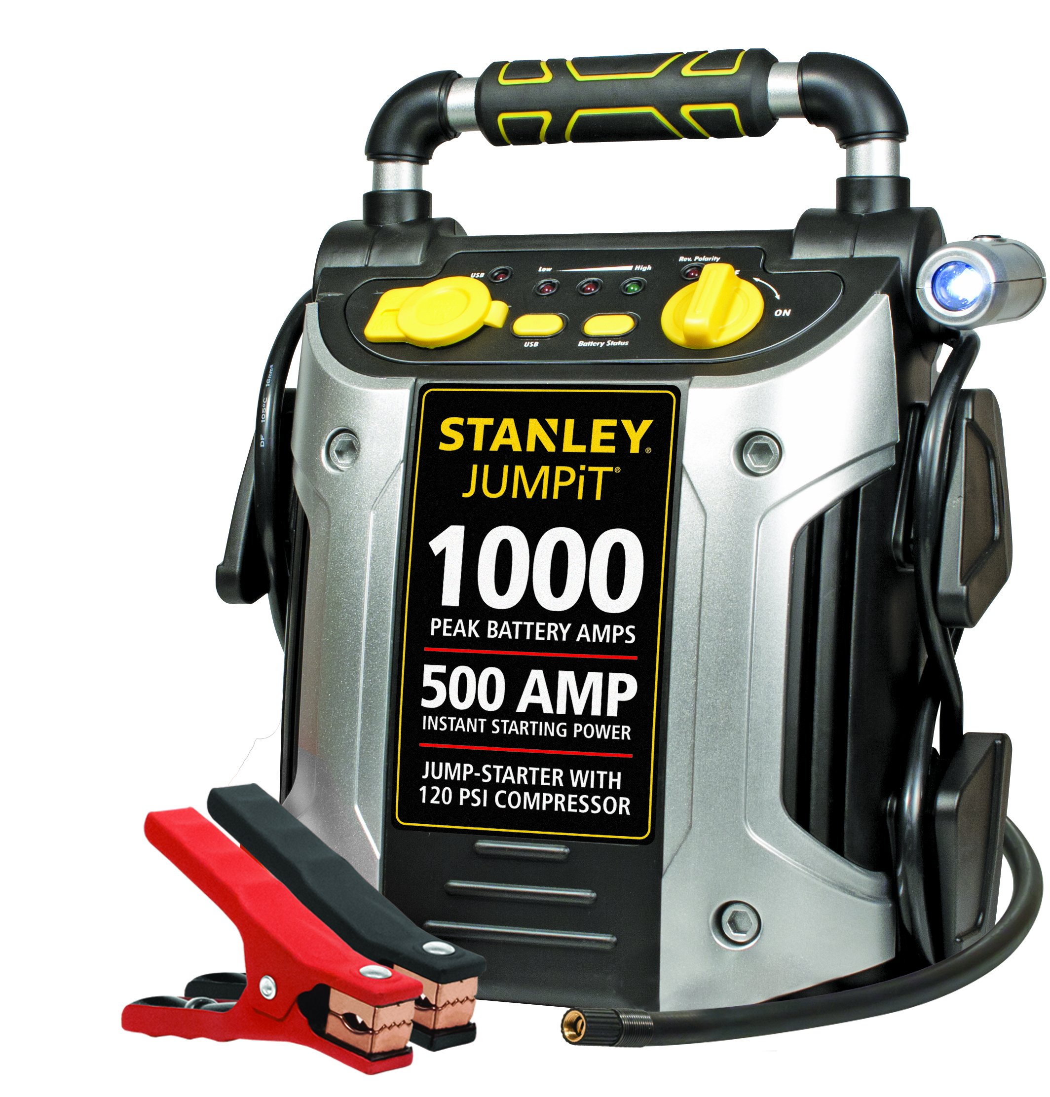 STANLEY J5C09 Power Station Jump Starter: 1000 Peak/500 Instant Amps, 120 PSI Air Compressor, Battery Clamps by STANLEY