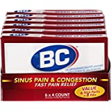 BC Sinus Pain & Congestion Powder | Fast Pain Relief - 4 count (Pack of 6)
