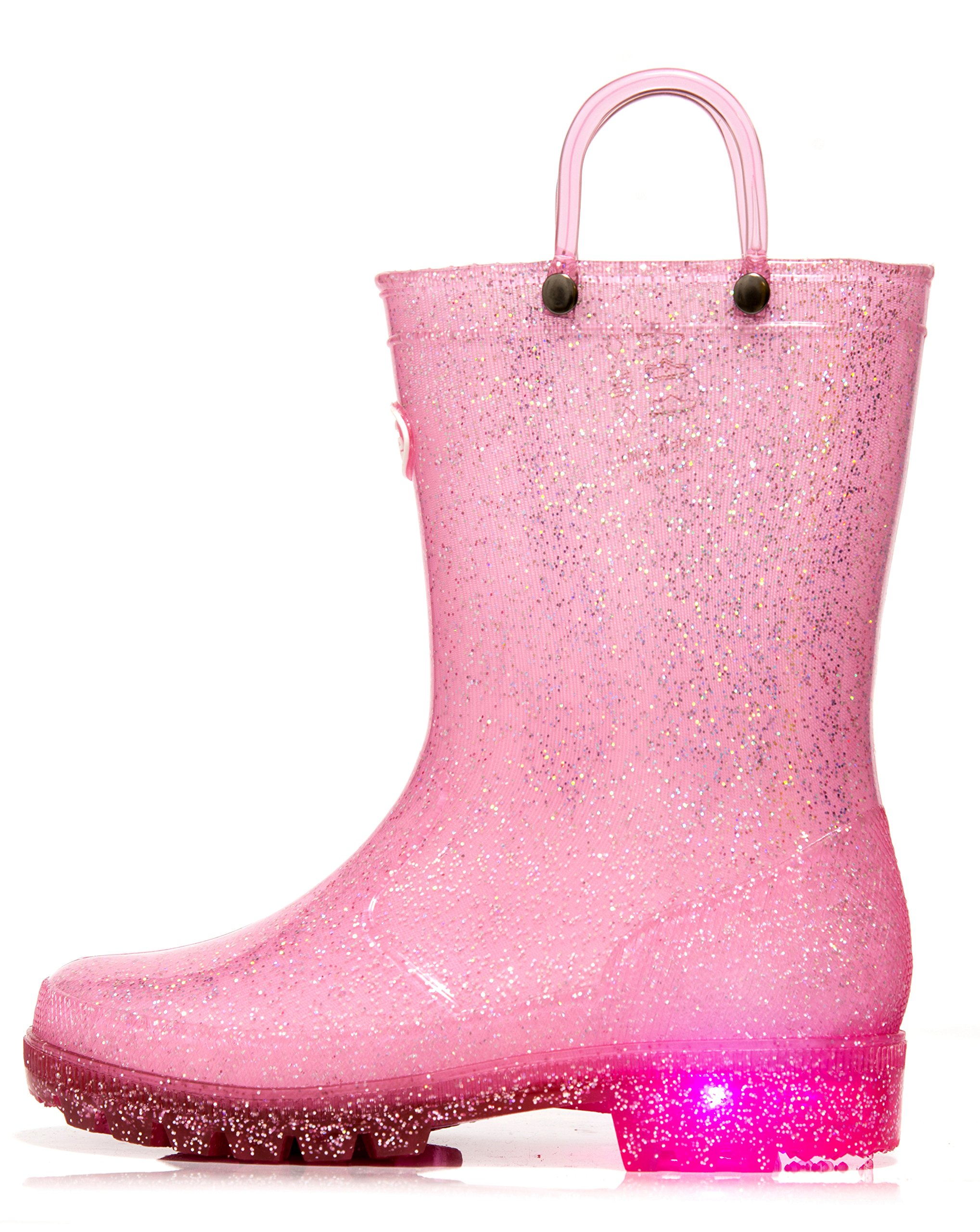 Outee Toddler Girls Kids Light up Rain Boots Waterproof Shoes Glitter Lightweight Cute Lovely Funny with Easy-On Handles Classic Comfortable Insoles Anti-Slippery Sole with Grip (Size 6,Pink)