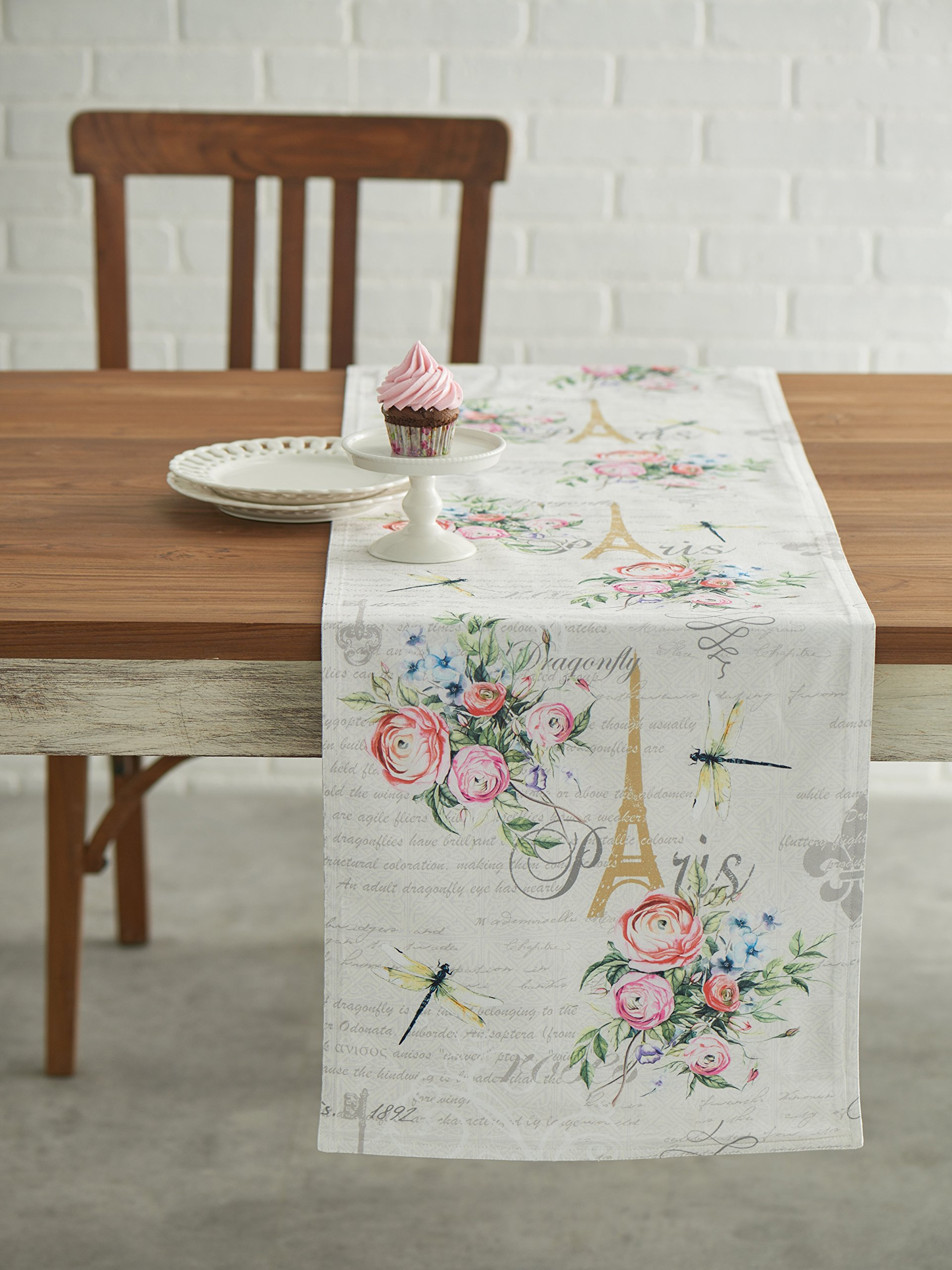 Maison d' Hermine Champ De Mars 100% Cotton Table Runner for Party | Dinner | Holidays | Kitchen | Spring/Summer (14.5 Inch by 72 Inch) - Designed in Europe. 100% Cotton and Machine washable. Package Includes : 1 Table Runner - table-runners, kitchen-dining-room-table-linens, kitchen-dining-room - 91cTkzmninL -