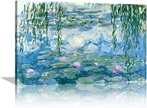 Water Lilies Floral Canvas Prints Wall Art by Claude Monet Famous Paintings Flowers for Kitchen Bedroom Bathroom Home Decor Modern Classic Landscape Pictures Giclee Artwork