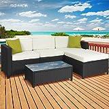 5PC Rattan Wicker Aluminum Frame Sofa Set Cushioned Sectional Outdoor  Garden Patio Furniture
