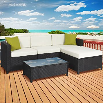 5PC Rattan Wicker Aluminum Frame Sofa Set Cushioned Sectional Outdoor  Garden Patio Furniture. Amazon com   5PC Rattan Wicker Aluminum Frame Sofa Set Cushioned