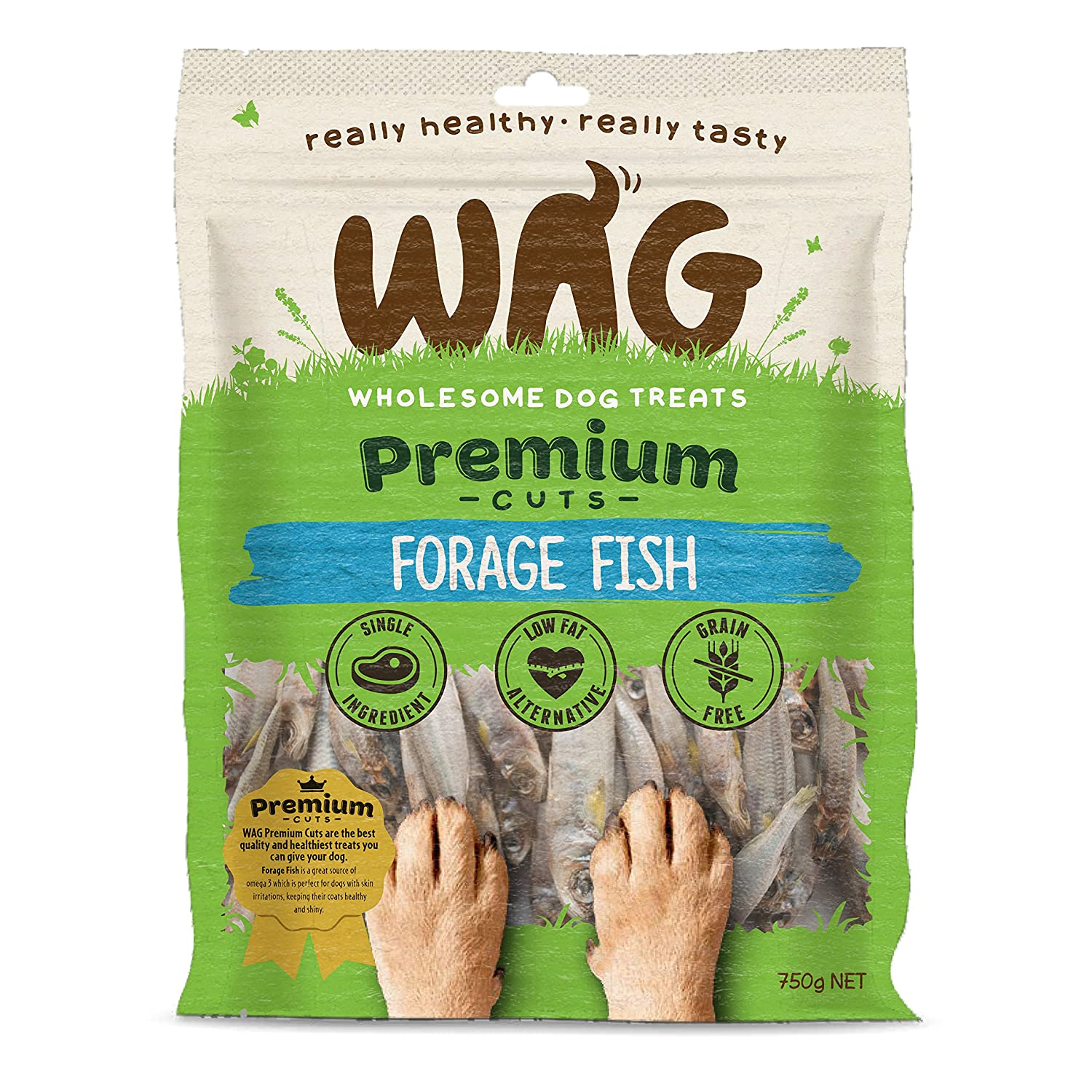 750g WAG Forage Fish 750g, Grain Free Hypoallergenic Natural Australian Made Dog Treat Chew, Perfect for Training