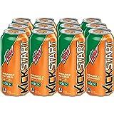 Mountain Dew Kickstart Orange Citrus Carbonated Soft Drink, 473 mL Cans, 12 Pack