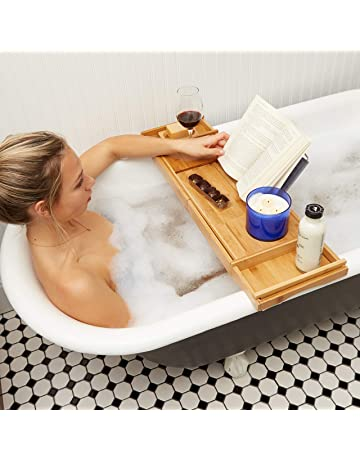 Bathroom Fixtures Original Bamboo Bathroom Tray Telescoping Bathtub Desk For Phone Laptop Notebook Wine Glasses Candles Bathroom Shelf Bathroom Shelves