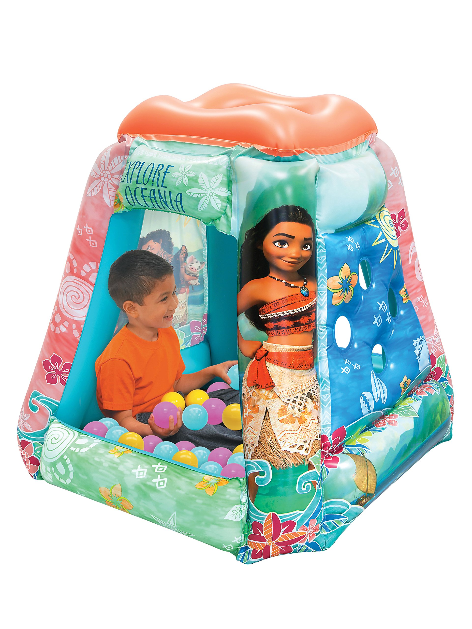 Moana Ball Pit, 1 Inflatable & 20 Sof-Flex Balls, Aqua/Pink, 37''W x 37''D x 34''H by Moose Mountain