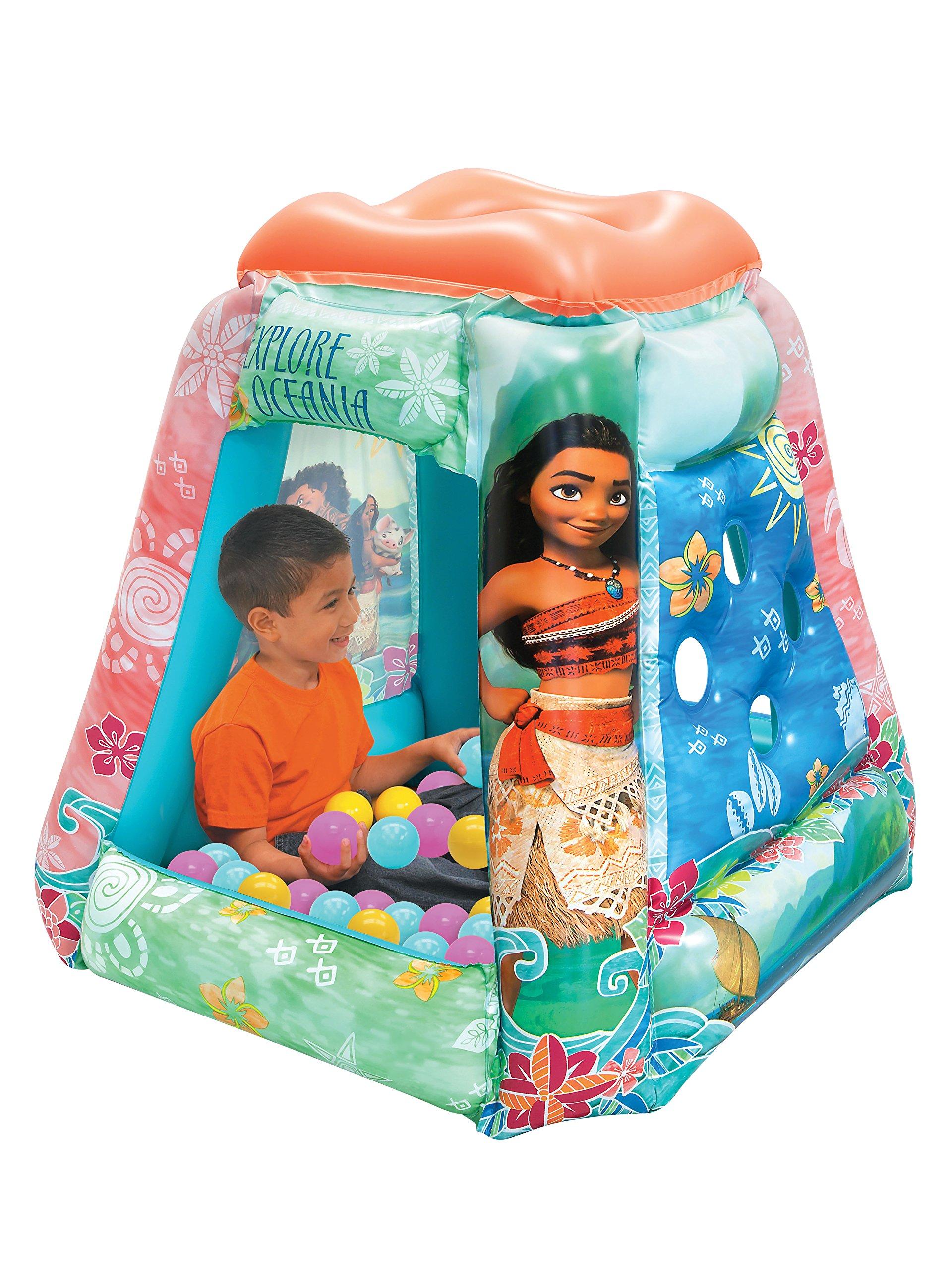 Moana Ball Pit, 1 Inflatable & 20 Sof-Flex Balls, Aqua/Pink, 37''W x 37''D x 34''H