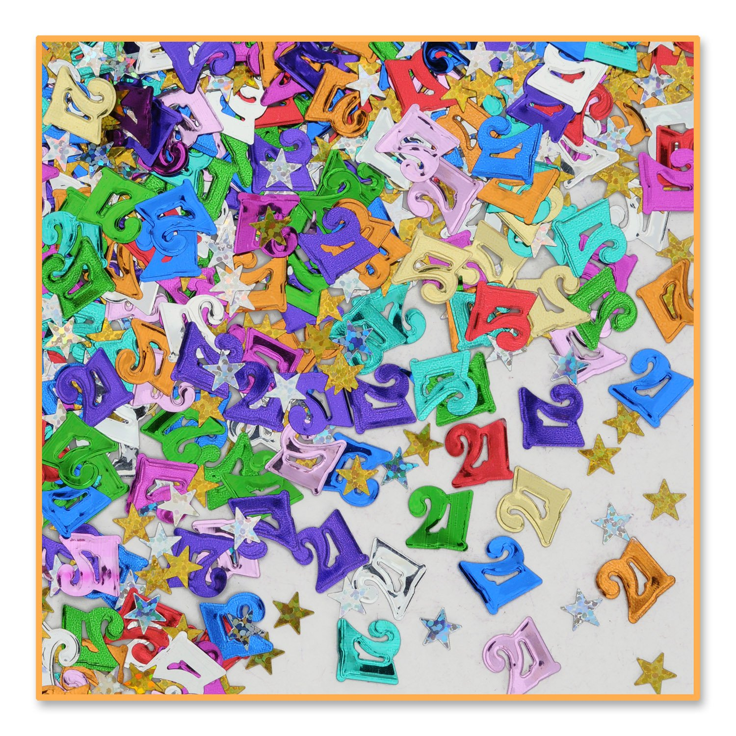 21' And Stars Confetti (Pack of 96) by Beistle