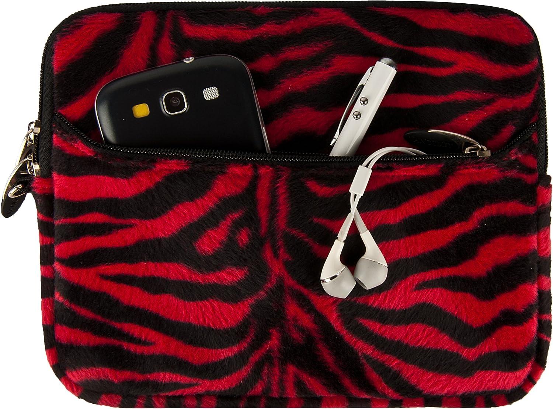 Red Zebra Soft Neoprene Tablets Sleeve, Zipper Carrying Case Pouch for Lenovo Miix 3 8, Yoga Tablet 3, IdeaPad Miix 300, HP Envy 8 Note, Dell Venue 8 Pro, Google Nexus 8