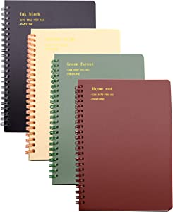 Yansanido 4 Pack 160 Pages Spiral Notebooks Journal Plastic Hardcover (A5) College Ruled Lined Notebooks White Paper for Students Office School Supplies (Ruled-4pcs Wine Red,Brown,Green,ivory, A5)