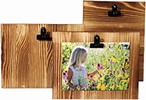 Rustic Wood Picture Frames with Clips. DIY Clip Frame can be Vertical or Horizontal. Display Picture Board for 5x7 or 4x6. Farmhouse Photo Frames with Stands. Clipboard Photo Holder for Wall Decor.
