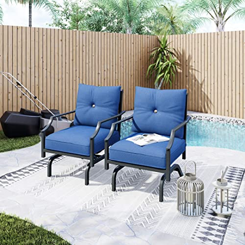 LOKATSE HOME 2 Pieces Outdoor Conversation Furniture Patio Bistro Armchair Set Metal Single Dining Chair