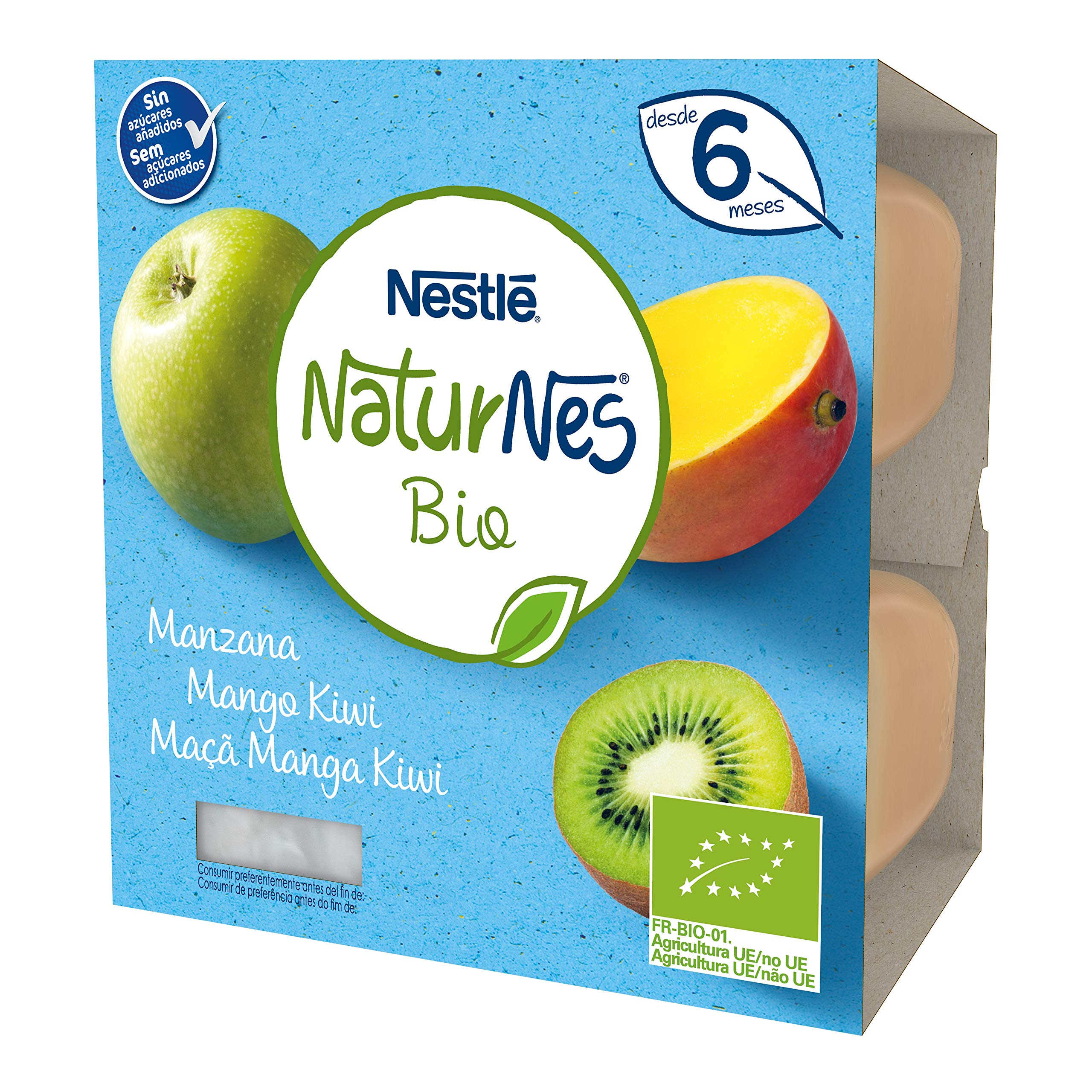 Nestlé Naturnes Bio Tarrina Manzana Mango Kiwi, A Partir De Los 6 Meses - Pack 6 tarrinas 4x90g