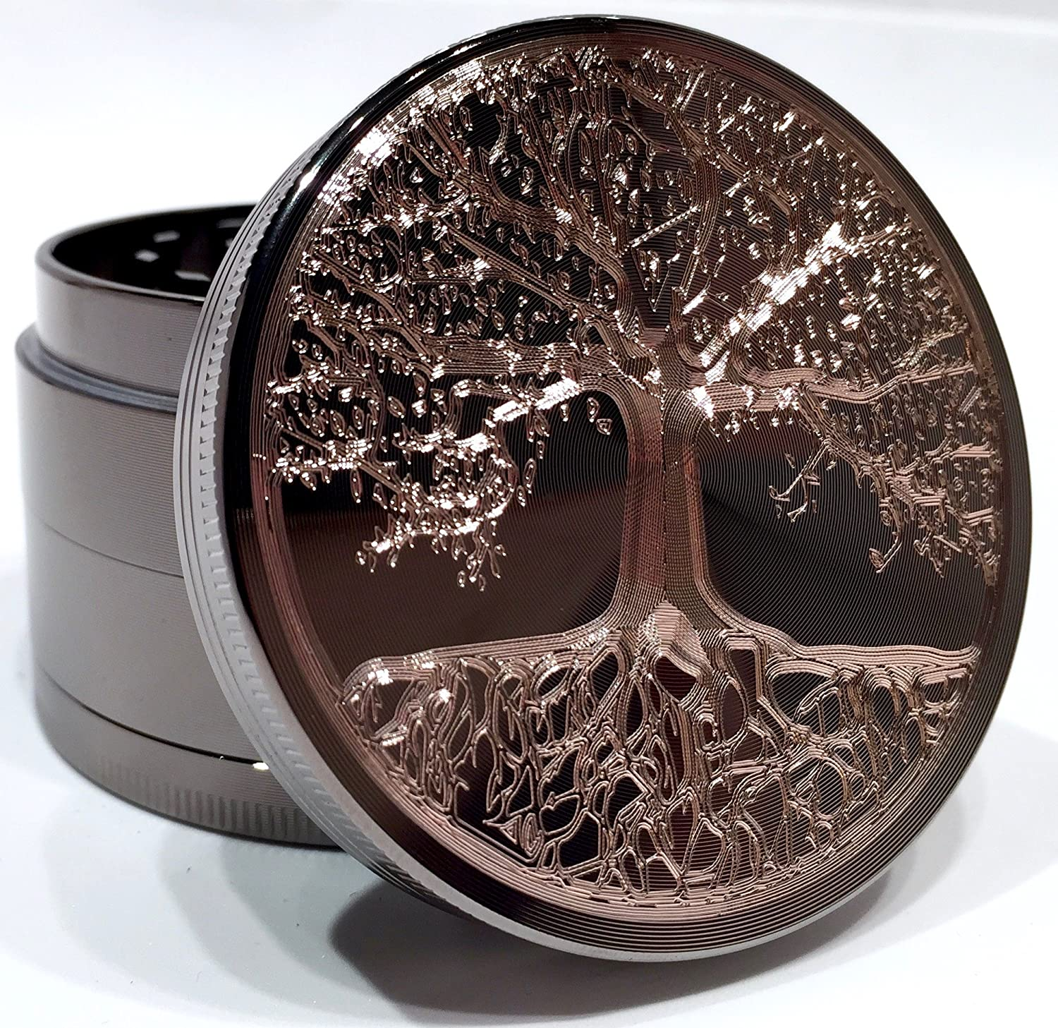 Tree of Life Tree of Life Etched Titanium Grinder Gift Box 4 Piece with Pollen Catcher Original Art 2.5 63mm
