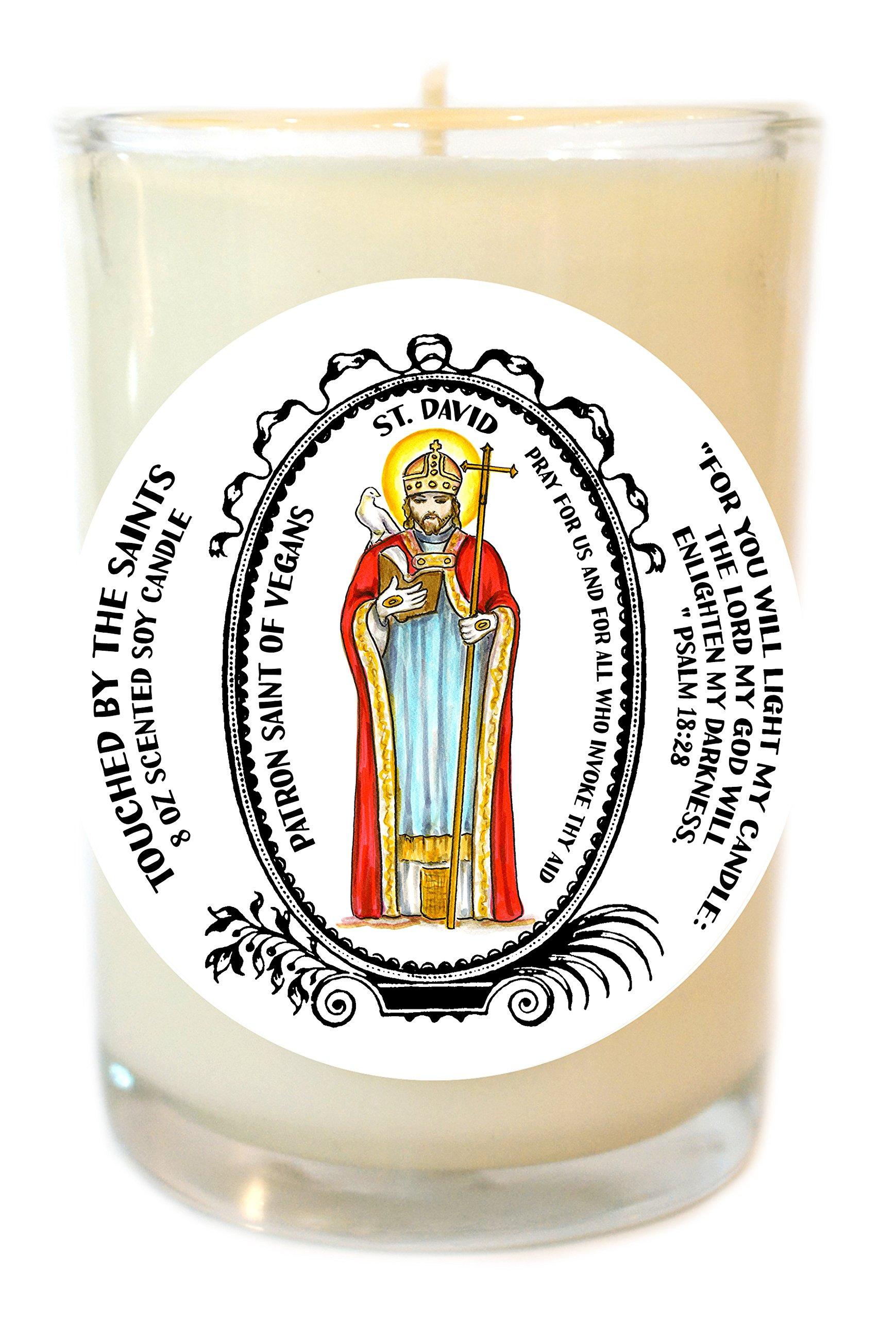 Saint David Patron of Vegans 8 Oz Scented Soy Glass Prayer Candle