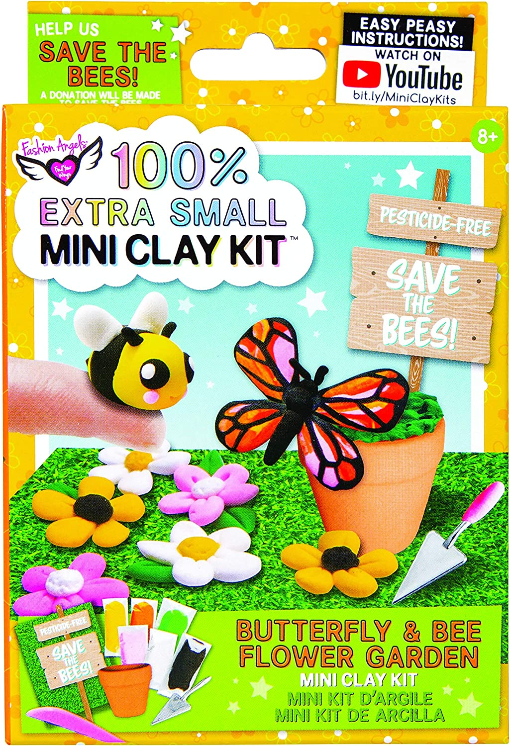Fashion Angels 100/% Extra Small Mini Clay Kit Butterfly and Bee Flower Garden