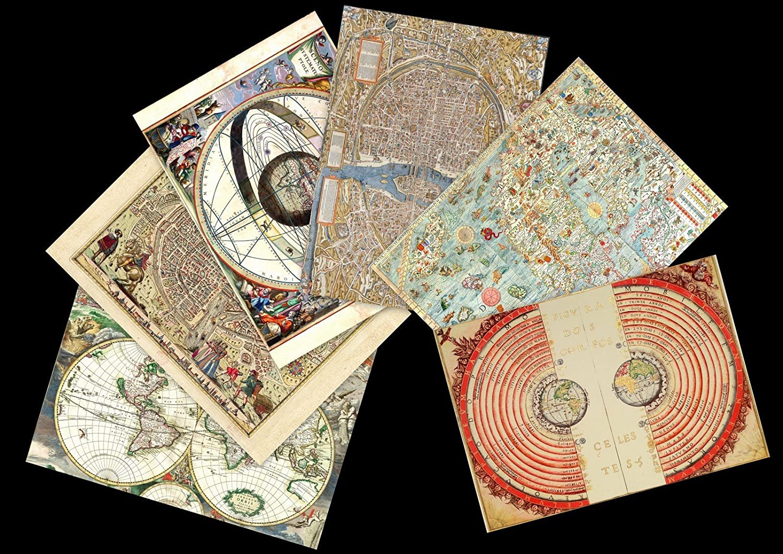 Lot de 6 sets de table plastifiés cartes anciennes