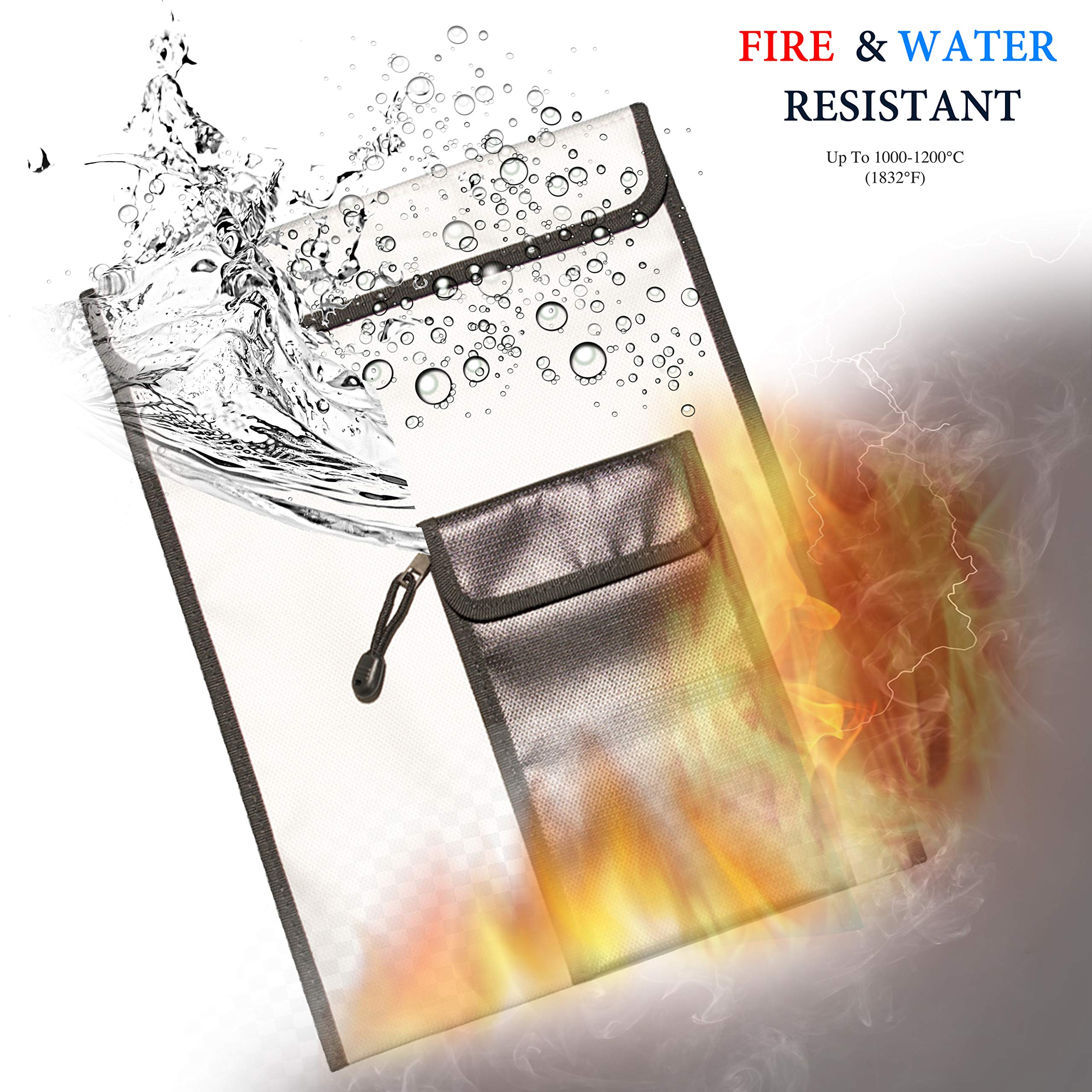 Fireproof Document Bag 15'' x 11'' [Bonus 5'' x 8''] Non-Itchy Silicone Coated Fire Resistant, Waterproof Protector Pouch for Valuables, Money, Jewelry, Certificates - Gray and Black with Zipper Closure