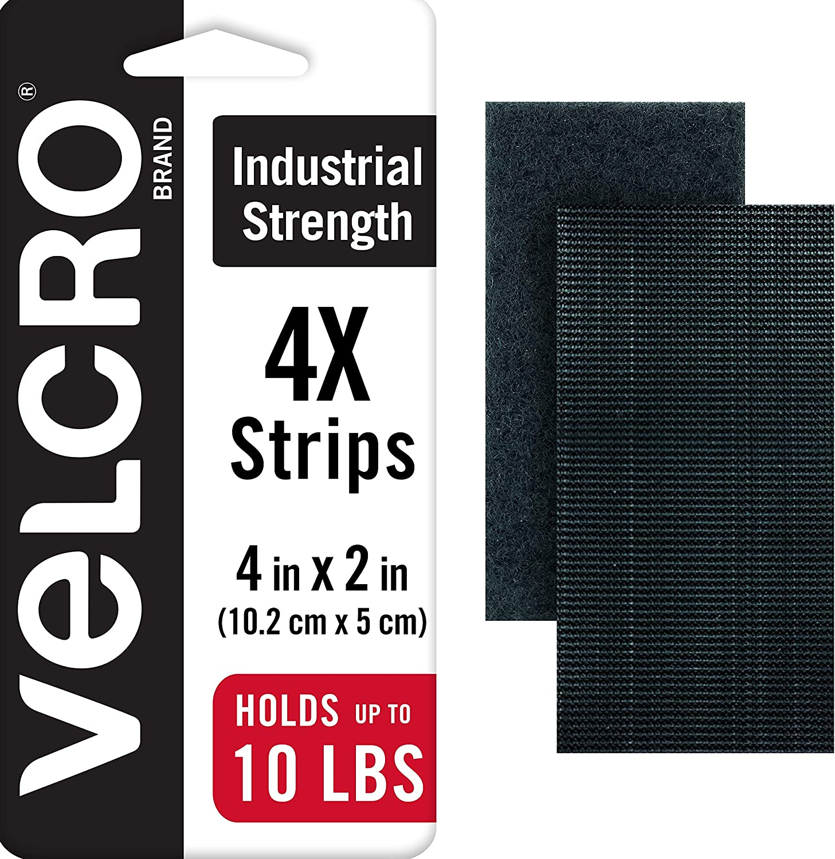 "2/"" x 4/"" Velcro Pack of 2 Black Velcro Industrial Strength Strips"