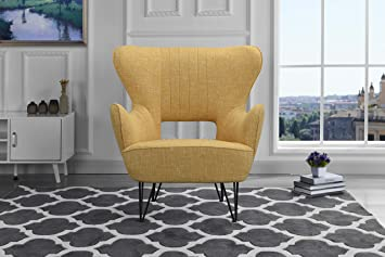 Amazon.com: Mid-Century Modern Linen Fabric Accent Armchair with ...