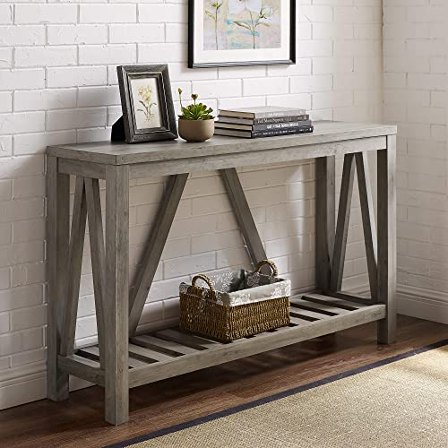 Walker Edison Furniture Company Modern Farmhouse Accent Entryway Entry Living Room End Table, 52 Inch, Grey Wash