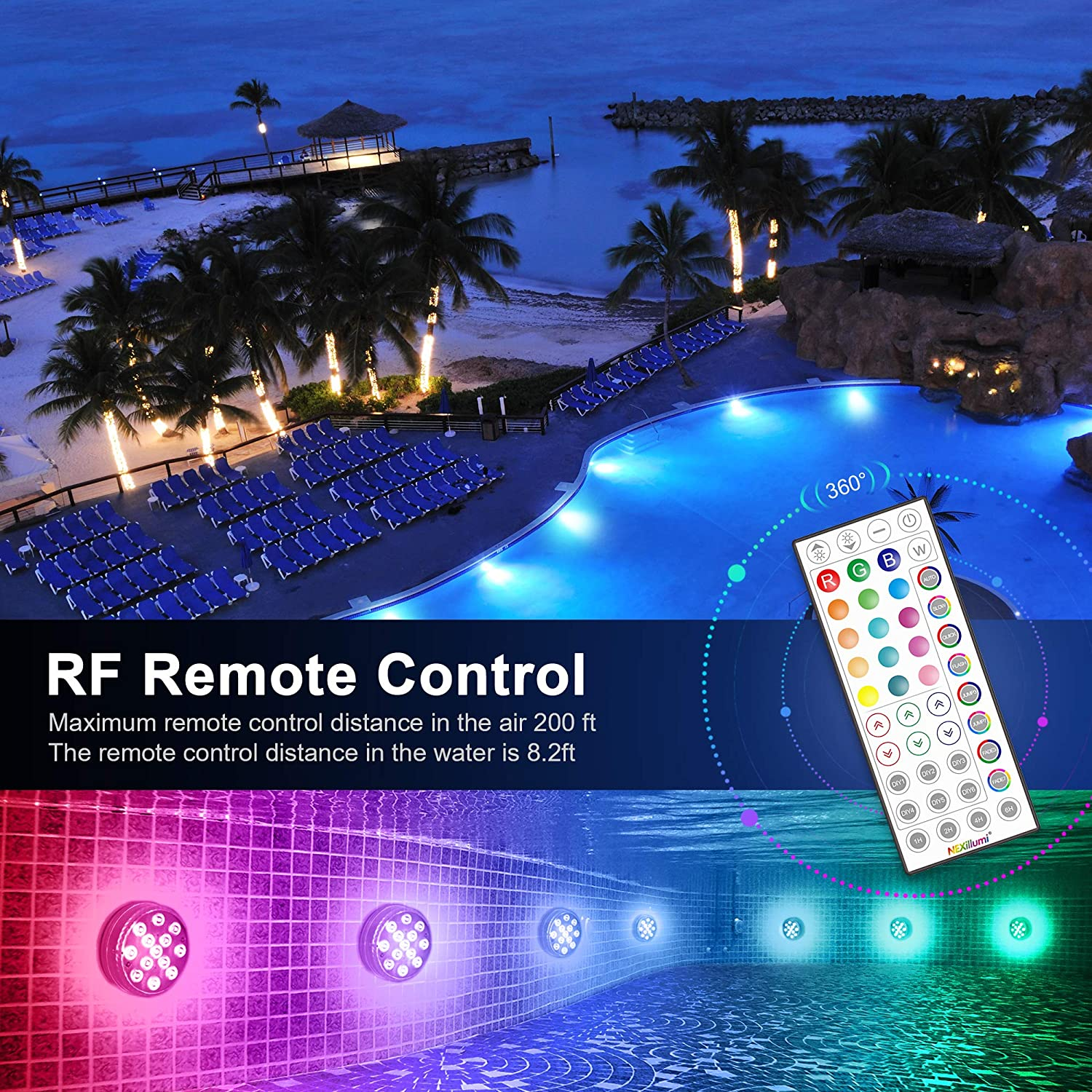 IP68 waterproof 16 Million Colors SMD 5050 LED swimming pool lights for inground pool parties 2Pack fish tanks patios vases Upgraded Submersible Pool Lights with 44-Key RF remote and App control