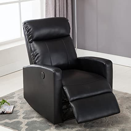 Nice Christies Home Living Modern Leather Infused Small Power Reading Recliner  Chair With USB Port, Black